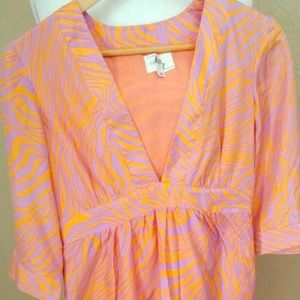 Milly of New York orange and purple dress